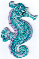 SEAHORSE - IRON ON EMBROIDERED PATCH - SEA CREATURES -OCEAN