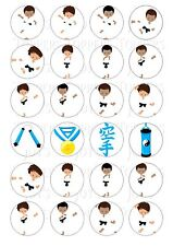 24 KARATE BOY BOYS  CUPCAKE TOPPERS ICED ICING FAIRY CAKE BUN TOPPERS