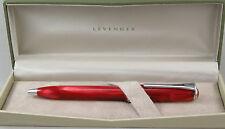 Levenger True Writer Crimson Red & Chrome Ballpoint Pen - New In Box