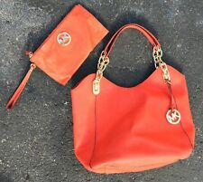 Authentic Michael Kors Bag And Clutch Set Purse Handbag Orange Tote Small Gold