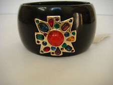 Kenneth Jay Lane Gemstone Cluster Bangle Bracelet Black New