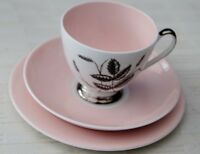 Vintage Queen Anne Harvest Pink Fine Bone China Cup Saucer & Side Plate Trio