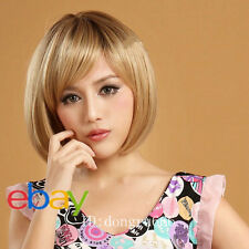 Latest New Short Dark Blonde Woman's Like real hair Wig +free wig cap A26
