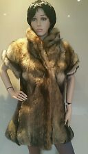 Immaculate!real Canadian Coyote Fox fur gilet.cape.coat.uk 8-10.vintage.1980's.