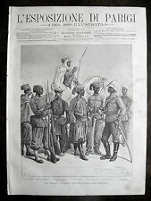 stampa antica old print UNIFORME TURCHIA INDIA cipahi SENEGAL MADACASCAR 1889