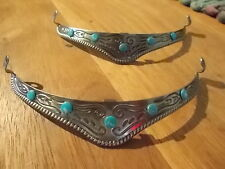 WESTERN COWGIRL~ BOOT TIPS Engraved - SET 2- NEW - TURQUOISE~STONES~BOOT~BLING