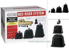 Adjustable Bed Risers, Black - Elevate Your Bed 3, 5, Or 8 Inches - NEW