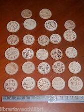 Lotto di vecchie FICHES IN LEGNO da gioco poker carte 5.000 10.000 lire gettoni