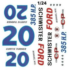 #20 Curtis Turner Schwister Ford 1962 1/25th - 1/24th Scale Waterslide Decals