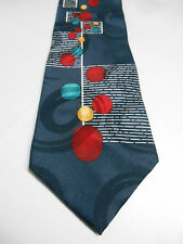 Pierra Cardin Blue Silk Necktie w/ Geometric Design Red White Yellow