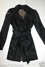 NEW bebe black belt long sleeve fashion coat top sexy jacket trench small S