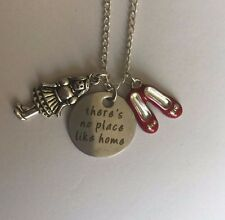 WIZARD OF OZ inspired NO PLACE LIKE HOME necklace pendant 18 Silver Plated Chain