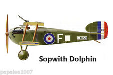 """Model Airplane Plans (UC): Sopwith Dolphin 1/12 Scale 32"""" Biplane for .29 Engine"""