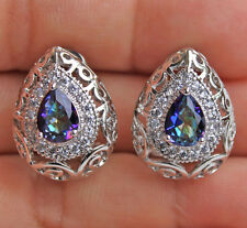 18K White Gold Filled - Blue MYSTICAL Rainbow Oval Topaz Hollow Club Earrings