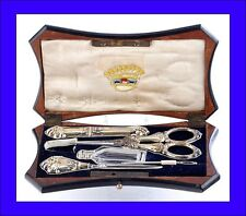 Antique Silver Sewing Kit in a Fine Boulle-Style Marquetry Case. France, 19th C.