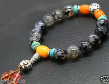 Black White Dragon Veins Agate Buddha Tibet Buddhist Prayer Beads Mala Bracelet
