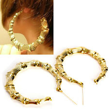 Fashion  Gold Bamboo Big Hoop Circle Earring Hiphop Punk Stud Fancy Dress