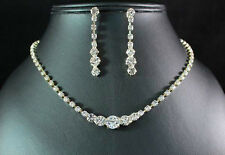 BEAUTIFUL AUSTRIAN RHINESTONE CRYSTAL GOLG NECKLACE EARRINGS SET BRIDAL N1392G