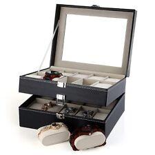 20 Grid Watch Box Glass Top Display Jewelry Organizer Storage Case PU Leather