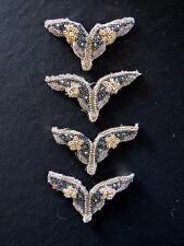 """FOUR BEADED AND PEARLED VINTAGE 1930'S-1940'S BUTTERFLYS 2 1/2"""" L X 4"""" W"""
