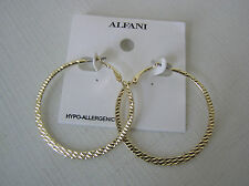 Alfani Brand (exclusively at Macy's) Gold Tone Textured Hoop Earrings