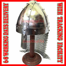 MEDIEVAL KNIGHT NORMAN HELMET 16 G SPANGENHELM NASAL W/ CHAINMAIL AVENTAIL & CAP