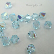 144x SWAROVSKI 5328 LIGHT AZORE AB 4mm BICONE XILION CRYSTAL BEAD