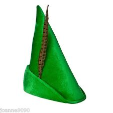 KIDS LADIES GREEN PETER PAN ROBIN HOOD PIXIE FANCY DRESS COSTUME HAT AND FEATHER