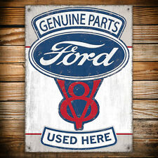 Genuine Ford Parts V8 Tin Plate Wall Sign - Car/Garage/Present/Shed/Man Cave/Pad
