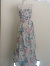 TED BAKER Chiffon Floral Strapless Maxi Dress SZ2/US 6  NWOTS.