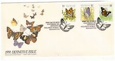 NEW ZEALAND 1991 DEFINITIVES BUTTERFLIES SET OF 3 OFFICIAL FIRST DAY COVER