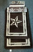 15 piece western lone star bath mat with shower curtain n rings n 2 mats brown