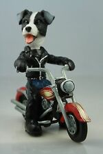 JACK RUSSELL Blk /WHITE  ON A MOTORCYCLE (SEE ALL BREEDS  &  BODIES @ EBAY STORE