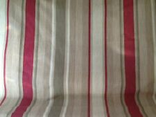 LAURA ASHLEY  AWNING STRIPE FABRIC RASPBERRY and LICHEN - NEW