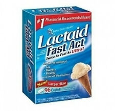 Lactaid Fast Act twice as fast as ultra 96 Caplets lactase lactose enzyme