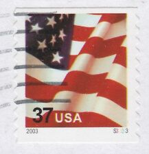 3632A  37c Flag  PNC1 - Pl#S3333   - 2003 - Mottled Tag  PV/VP- Used on piece