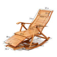Foldadble Bamboo Rocking Chair Recliner W/Foot Rest Indoor/Outdoor Deck Chair