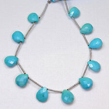 Sleeping Beauty Turquoise Faceted Pear Briolette 6.8 inch strand