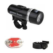 5 LED Bike Bicycle Front Head Light Lamp + Rear Safety Flashlight Set Waterproof