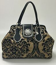 Raviani Chenille Black & Tan Tapestry & Black Leather Doctor Bag Carry On Bag