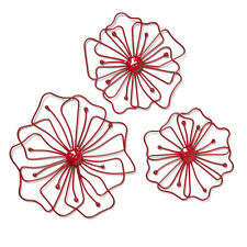 Stunning Red 3 Pack Flower Metal Wall Hanging Art  NEW