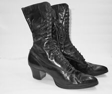 Women's antique Victorian Edwardian black leather lace up boots shoes Hamilton