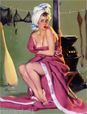 1940s Pin-Up Girl Drying Off Picture Poster Print Art Pin Up