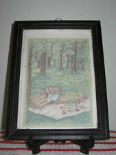 """Small Framed Colored Pencil Drawing """"Picnic in the Woods"""" Signed S. Reeve"""