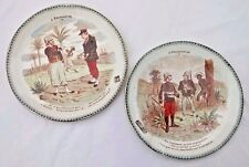 TWO 19TH CENT. TERRE DE FER FRANCE MADAGASCAR CARICATURE PLATES