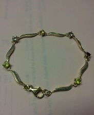 925 STERLING SILVER THAI BRACELET WITH TOPAZ GARNET CITRINE AMATHYST AND MORE