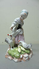 ANTIQUE PRUSSIA HAND ENAMELED PORCELAIN FIGURINE, GIRL FEEDING CHICKENS