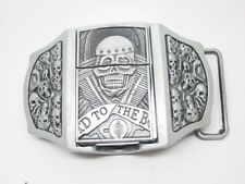 Belt Buckle with Lighter Skull Skulls Skull grey Biker M1