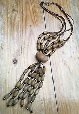 Lovely Brown & Bronze Seed Bead Necklace/Ethnic/Tribal/Statement Tassel Pendant