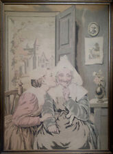 Antique Silk Tapestry Depicting Two Women in an Interior (1700s - 1800s)